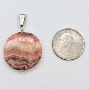 "Red Zebra Jasper Disc and Sterling Silver Pendant | 29x5mm (Disc) | 1.75"" Long - PremiumBead"