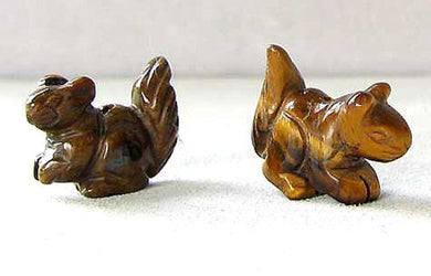 Nuts 2 Hand Carved Animal Tigereye Squirrel Beads | 22x15x10mm | Golden Brown - PremiumBead
