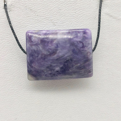 29cts of Rare Rectangular Pillow Charoite Bead | 1 Beads | 23x17x8mm | 10872B - PremiumBead