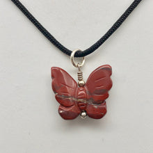 Load image into Gallery viewer, Flutter Carved Brecciated Jasper Butterfly and Sterling Silver Pendant 509256BJS - PremiumBead