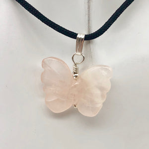 Flutter Carved Rose Quartz Butterfly and Sterling Silver Pendant 509256RQS - PremiumBead