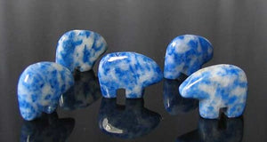 2 Roar Hand Carved Natural Lapis Bear Beads 9252LP | 15x12x4mm | Blue and White - PremiumBead