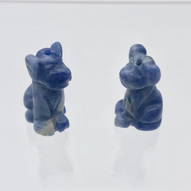 Faithful 2 Sodalite Hand Carved Dog Beads | 20x12x10mm | Blue/Grey - PremiumBead Primary Image 1