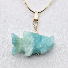 Load image into Gallery viewer, Amazonite Koi Fish Pendant Necklace|Semi Precious Stone Jewelry|14k Pendant - PremiumBead