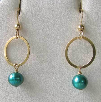 Hot Circle Turquoise Pearl Earrings 22K Vermeil 302857 - PremiumBead Primary Image 1