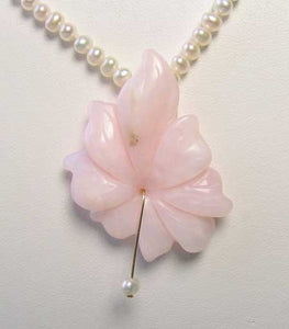Love Pink Peruvian Opal Flower 16 inch Necklace 510369A - PremiumBead