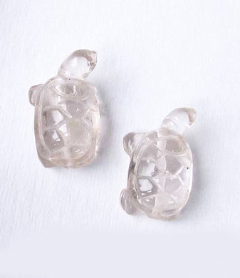 Charming 2 Carved Clear Quartz Turtle Beads | 21.5x13.5x9mm | Clear - PremiumBead Primary Image 1