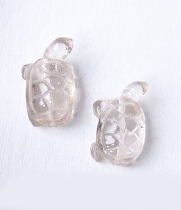Charming 2 Carved Clear Quartz Turtle Beads | 21.5x13.5x9mm | Clear - PremiumBead
