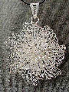 Delicate 925 Sterling Silver Filigree Spiral Flower Pendant 5782 - PremiumBead Primary Image 1