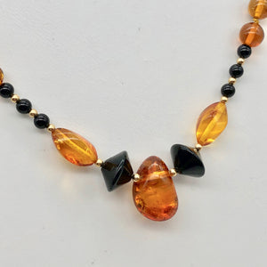 "Beautiful Sparkling Amber and Onyx Bead 30"" Necklace 210791 - PremiumBead Alternate Image 4"