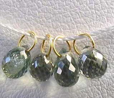 One Bead of 5.5x4mm Untreated Green Sapphire 18K Briolette Pendant 1.4cts 10119B - PremiumBead Primary Image 1