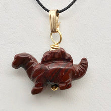 Load image into Gallery viewer, Red Dinosaur Pendant Bracciated Jasper Stegosaurus and 14Kgf Pendant 509258BJG - PremiumBead