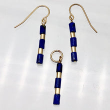 "Load image into Gallery viewer, Natural Blue and Gold Lapis Earrings and Pendant 14kgf Set | 1 1/4"" Long 
