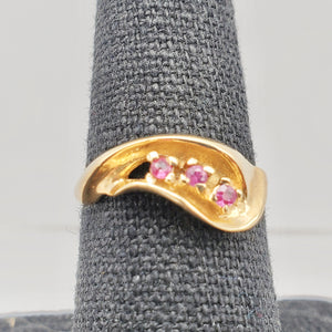 Three Stone Natural Red Ruby in Solid 14Kt Yellow Gold Ring Size 6 9982x - PremiumBead