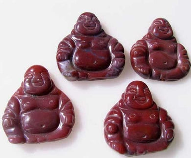 Exotic Fancy Jasper Hand Carved Buddha Bead | 33x30x7mm | Red - PremiumBead Primary Image 1