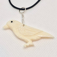 Load image into Gallery viewer, White Raven Carved Bone W / Sterling Silver Pendant 510804S - PremiumBead Alternate Image 2