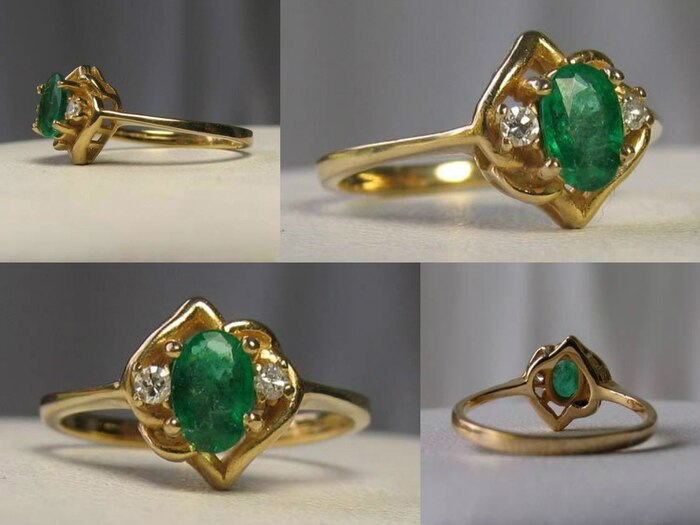 Oval Emerald & Diamonds Solid 14Kt Yellow Gold Solitaire Ring Size 5 9982Ar - PremiumBead