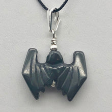 Load image into Gallery viewer, Halloween Hand Carved Hematite Bat Sterling Pendant 509251HMS - PremiumBead