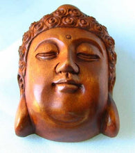 Load image into Gallery viewer, serenity-carved-buddha-boxwood-ojime-netsuke-bead-45x34x21-5mm-brown-12394