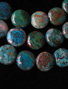 Natural Chrysocolla 12mm Coin Bead Strand 110421 - PremiumBead Primary Image 1