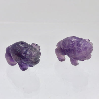 Prosperity 2 Amethyst Hand Carved Bison / Buffalo Beads | 21x14x8mm | Purple - PremiumBead