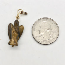 "Load image into Gallery viewer, On the Wings of Angels Tigereye 14K Gold Filled 1.5"" Long Pendant 509284TEG - PremiumBead"