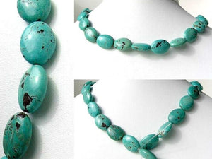 Natural Blue-Green Turquoise Oval Bead Strand - PremiumBead