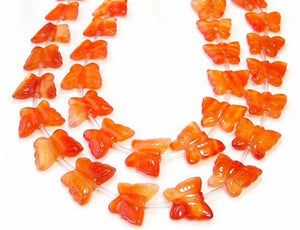 Flutterine 2 Carved Carnelian Butterfly Beads | 15x19x5mm-19x21x5mm | Orange - PremiumBead