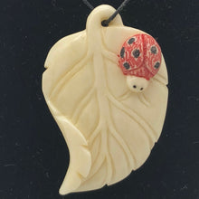 Load image into Gallery viewer, Loving Ladybug on a Leaf Hand Carved Pendant Bead | 44x29x8.5mm | 10870 - PremiumBead