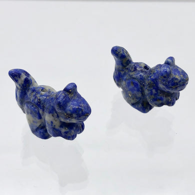 Nuts 2 Hand Carved Animal Sodalite Squirrel Beads | 22x15x10mm | Blue - PremiumBead