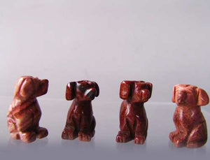 Faithful 2 Brecciated Jasper Hand Carved Dog Beads | 22x15x15mm | Red - PremiumBead