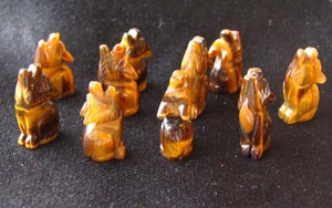Howling New Moon 2 Carved Tiger's Eye Wolf Coyote Beads | 21x11x8mm | Golden Brown - PremiumBead
