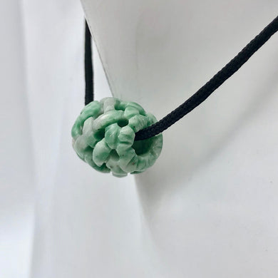 Basket Weave Carved 18x16mm Flowering Jade Barrel Bead 10570Fj | 15x13mm | Green - PremiumBead