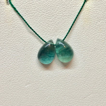 Load image into Gallery viewer, Rare 2 Seafoam Fluorite Pear Briolette Beads 9989 - PremiumBead