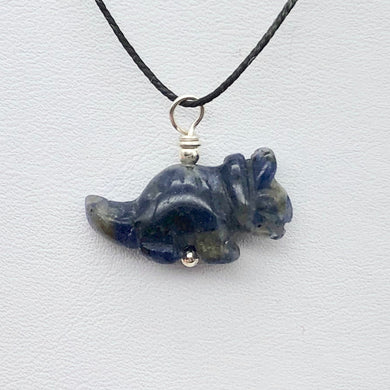 Sodalite Triceratops Dinosaur with Sterling Silver Pendant 509303SDS | 22x12x7.5mm (Triceratops), 5.5mm (Bail Opening), 7/8