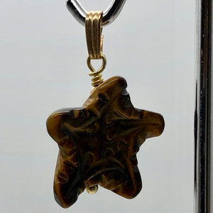 Tiger Eye Starfish Pendant Necklace | Semi Precious Stone | 14k gf Pendant - PremiumBead Alternate Image 5