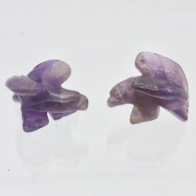 2 Soaring Carved Amethyst Eagle Beads | 20.5x16x11.5mm | Purple/Grey - PremiumBead Primary Image 1