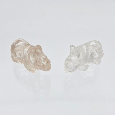 2 Quartz Hand Carved Rhinoceros Beads, 21x13x10mm, Clear 009275QZ | 21x13x10mm | Clear - PremiumBead
