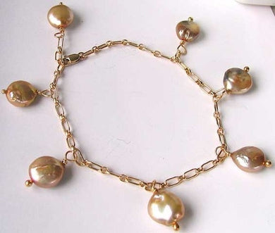 Sparkling! CHAMPAGNE FW Pearl & 14Kgf BRACELET 404480A - PremiumBead