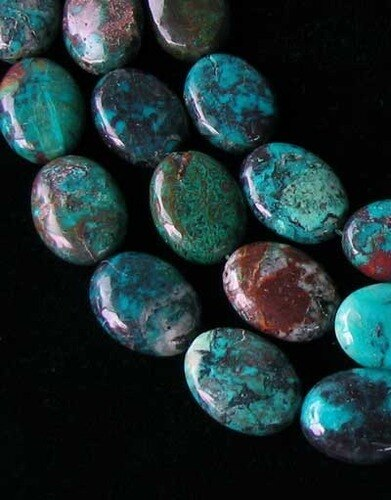 Natural Chrysocolla 16x12mm Oval Bead 8