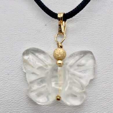 Flutter Carved Quartz Butterfly 14Kgf Pendant | 1 1/4