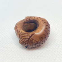 Load image into Gallery viewer, pisces-hand-carved-signed-boxwood-fish-ojime-netsuke-bead-22x22x15mm-brown-12346