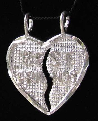 Sterling Silver Best Friends Heart Charm Pendant 9968C - PremiumBead Primary Image 1
