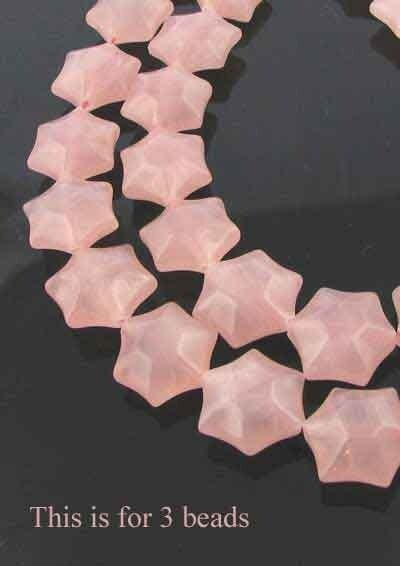 3 Carved Rose Quartz 6-Point 16x9mm Star Beads 9245RQ | 16x9mm | Pink - PremiumBead Primary Image 1