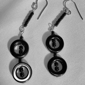 Hematite and Sterling Silver Earrings Very Chic 310655 - PremiumBead
