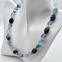 "Load image into Gallery viewer, Rare! Carved 14x10mm Oval Fluorite 13"" Bead Strand! - PremiumBead Alternate Image 3"
