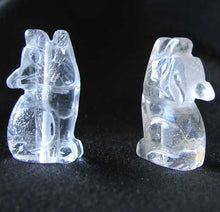 Load image into Gallery viewer, Howling New Moon 2 Carved Clear Quartz Wolf Coyote Beads | 21x11x8mm | Clear - PremiumBead