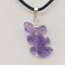 Load image into Gallery viewer, Charming Carved Natural Amethyst Lizard and Sterling Silver Pendant 509269AMS - PremiumBead
