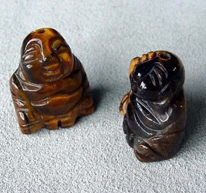 Namaste 2 Hand Carved Tiger's Eye Buddha Beads | 18.5x16x9.5mm | Golden Brown - PremiumBead