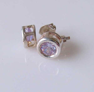 Shine 5mm Lilac Cubic Zircon Silver Earrings 10154F - PremiumBead Primary Image 1